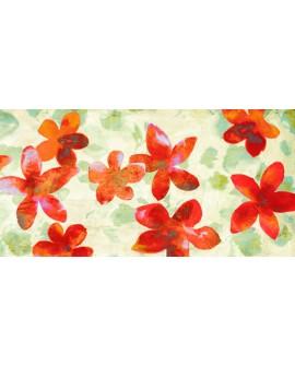 kelly parr cuadro mural cabecero flores rojas