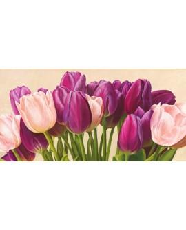 luca villa cuadro flores tulipanes violeta panoramico Home