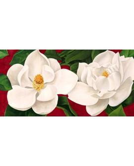 luca villa cuadro mural flores magnolias panoramico