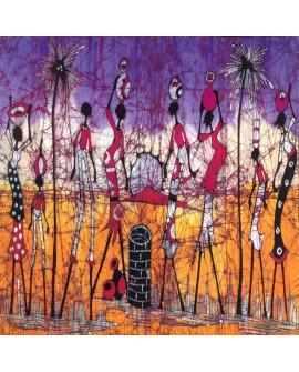 Danza africana - Cuadro mural Etnico Tribal Africano Colorista