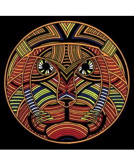 Tony Polonio cuadro etnico rey felino - decoracion mandala