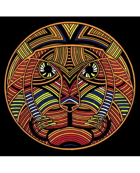 Tony Polonio cuadro etnico rey felino - decoracion mandala Home