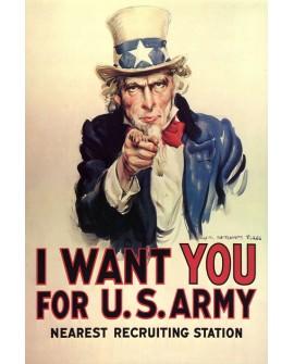 Cartel Guerra WW USA Tio Sam Alistamiento - Cuadro Mural. Home