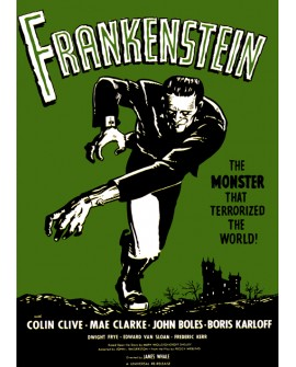 Frankenstein - Cartel Clasico de cine Ficción en Cuadro Mural. Home