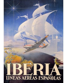 Iberia Española - Cuadro Cartel Vintage Publicitario. Home