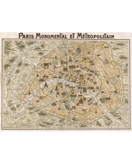 CUADRO MAPA DE PARIS MONUMENTAL MURAL GRANDE CLASICO Home