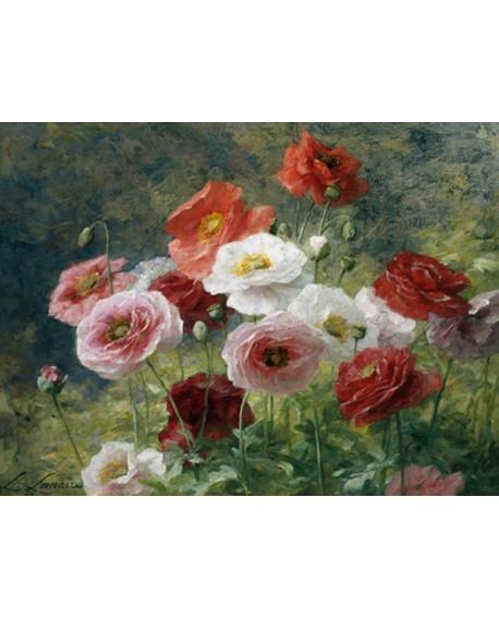Louis Cuadro Clasico Mural Paisaje De Flores Rojas Y Blancas Descri