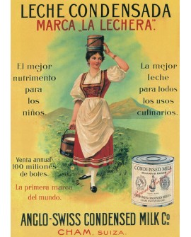 Leche Condensada La Lechera - Cuadro Cartel Vintage. Home