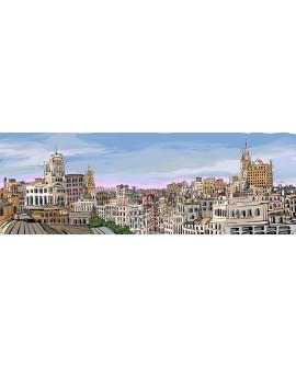 Alcala panoramico skyline ALTURAS ciudad madrid. Cuadros Horizontales