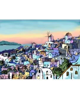 Cuadro Alcala Isla Santorini Grecia Paisaje Atardeder Home