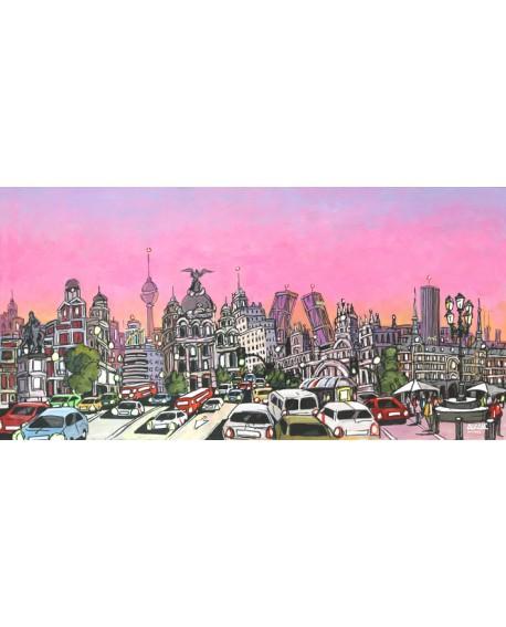 Alcala - Panoramico en comic 2 - Mural grande madrid. Cuadros Horizontales