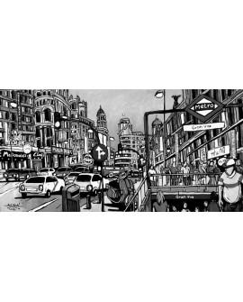 Alcala - Panoramico de la Gran Via BN - Cuadro Mural Comic. Cuadros Horizontales