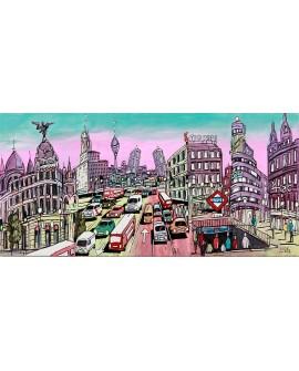 Alcala - Panoramico en comic de dia - Mural ciudad madrid.