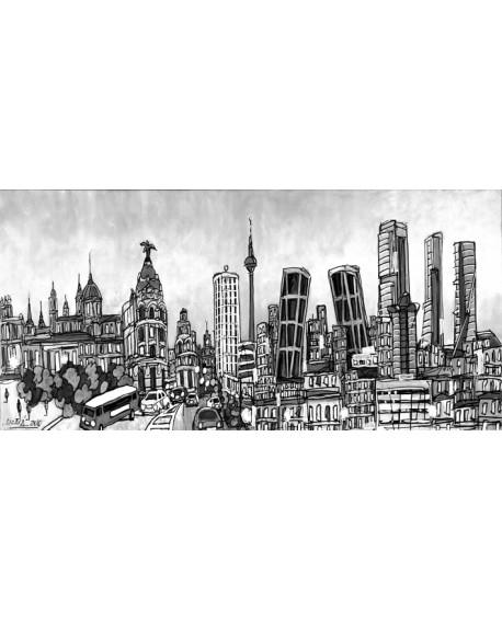 Alcala panoramico skyline BN mural grande madrid. Cuadros Horizontales