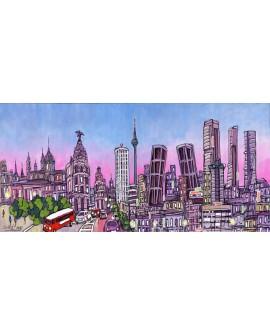 Alcala panoramico skyline dia mural ciudad madrid.