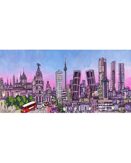 Alcala panoramico skyline dia mural ciudad madrid. Cuadros Horizontales