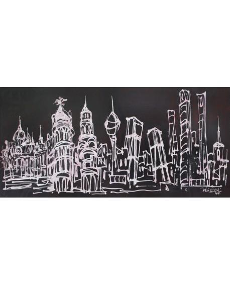 Alcala panoramico skyline en tinta blanca - Mural madrid. Cuadros Horizontales