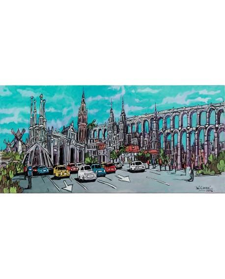 Jose Alcala - Marca España - Mural comic panoramico Skyline Cuadros Horizontales