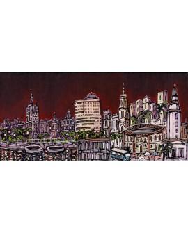 MALAGA Panoramico skyline de la ciudad Mural tipo Comic