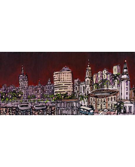 MALAGA Panoramico skyline de la ciudad Mural tipo Comic Cuadros Horizontales