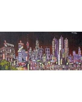 Alcala - Skyline Edificios de Madrid de noche tipo Comic Panoramico Cuadros Horizontales