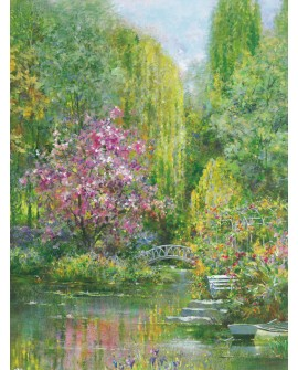 Andrea Fontana - Jardin de primavera VERTICAL Monet Impresionista Home