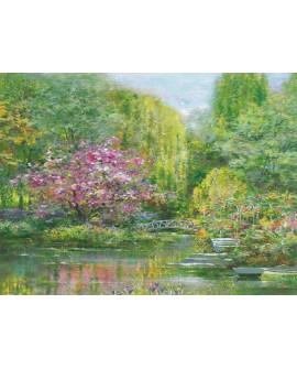 Andrea Fontana - Jardin de primavera HORIZONTAL Monet Impresionista