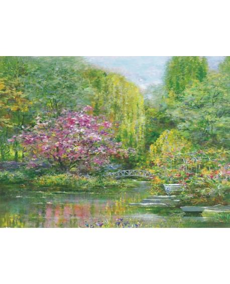 Andrea Fontana - Jardin de primavera HORIZONTAL Monet Impresionista Home