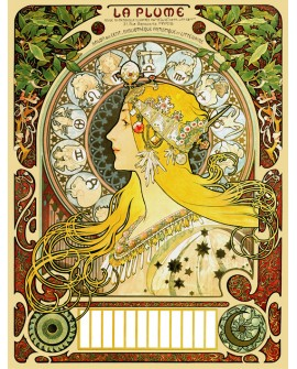 Alphonse Mucha Cuadro cartel Art Nouveau La Pluma y Zodiaco - Art Deco Home