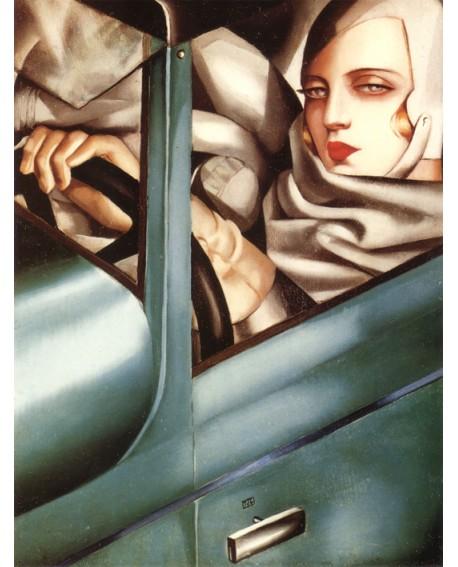 Tamara Lempicka Autorretrato en Buggatti Azul Art Deco - Reproducción Home