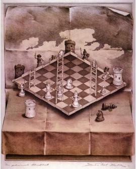 Escher - ajedrez en perspectiva imposible - Cuadro Reproduccion