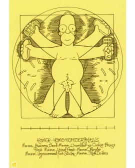 Homer Simpson - Vitruvio homo neanderthalus - Comic Pop Art Leonardo Vinci Home