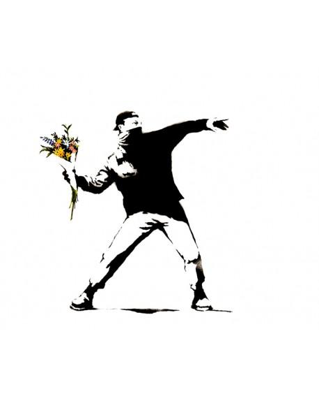 Banksy Lanzador de las flores Cuadro Graffiti Mural Reproduccion Home