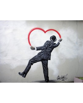 Banksy Cuadro Mural Graffiti Reproduccion Love is Love Corazon Home