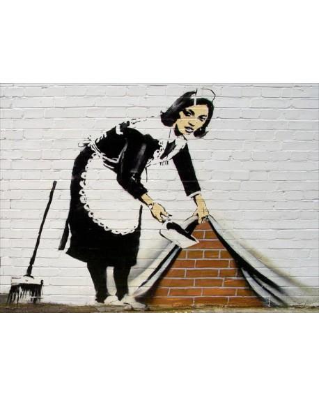 Banksy La mujer que esconde lo sucio Cuadro Mural Reproduccion Home