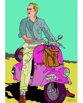Tony Polonio Vespa con Paul Newman - Cuadro Pop Art Español