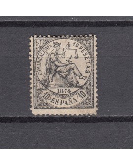 España 1874 - 10 pesetas negro La justicia, nuevo Edifil nº152 Certificado. Home