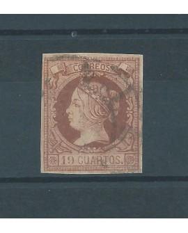 España 1860 - Sello 19 cuartos Reales de Isabel II dictamen CMF - Edifil nº54