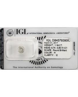 Diamante de 1,19 Quilates. Autentico y garantizado con certificado IGL Home