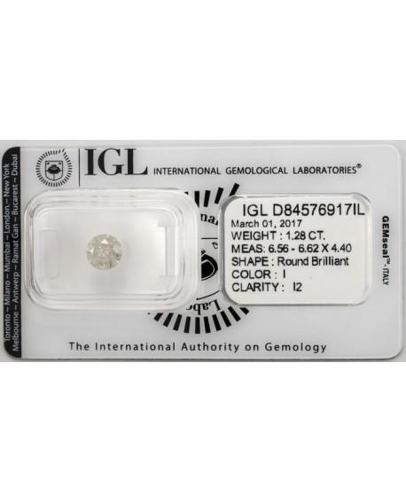 Diamante de 1,28 Quilates. Autentico y garantizado con certificado IGL Home