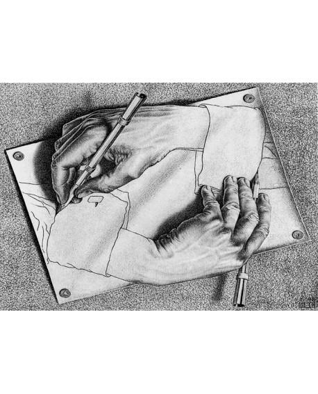 Escher Mano Que Pinta La Mano Cuadro Perspectiva Imposible Home
