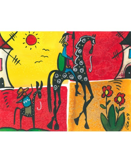 El Quijote De La Mancha Cuadro Naif Mural Decorativo Reproduccion Home