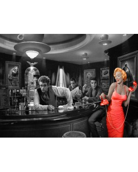 Marilyn Y Amigos En El Bar BN Coloreado Cuadro Mural Reproduccion Home
