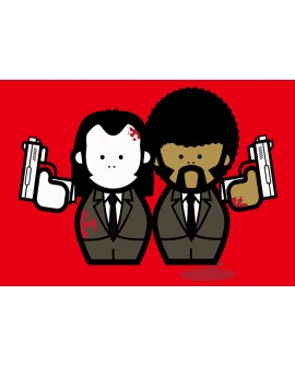 Pulp Fiction Jules & Vincent Pop Art En Rojo Cuadro Mural Reproduccion
