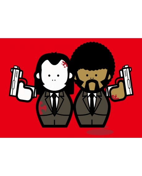 Pulp Fiction Jules & Vincent Pop Art En Rojo Cuadro Mural Reproduccion Home