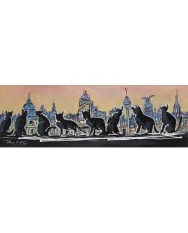 Alcala gatos del callejon en Madrid Skyline Panoramico
