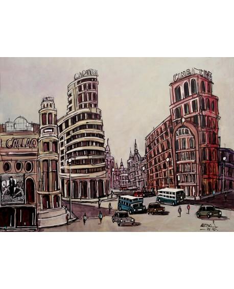 Alcala - Inaguracion plaza de Callao 1935 - Cuadro en comic Home