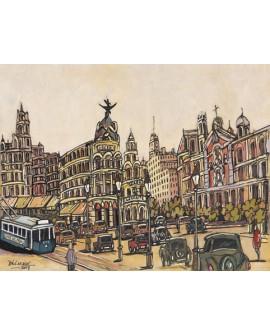 Pintor Jose Alcala Gran Via Madrid Vintage pintura Giclee Reproduccion Home