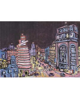 Jose Alcala Gran Via Palacio de La Prensa Madrid Pintura Giclee Reproduccion Home