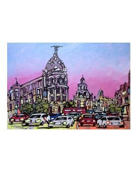 Jose Alala Atasco en la Gran Via Metropolis Pintura Giclee Home